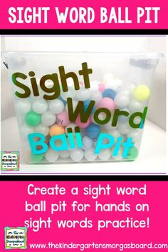 Make a sight words ball pit for your class for hands on, and fun sight word practice! Build sight word fluency with this sight words game! Preschool Sight Words, Learning Sight Words, Sight Word Practice, Sight Word Activities, Spelling Practice, Sight Word Flashcards, Sight Word Wall, Sight Word Centers, Kindergarten Smorgasboard