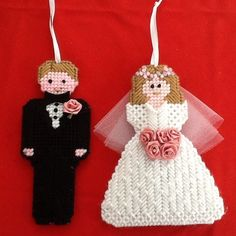 Bride and groom ornaments, handmade, wedding, plastic canvas #Handmade