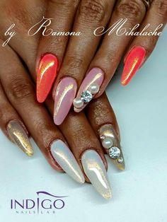 by Ramona, Indigo Nails Romania :) Follow us on Pinterest. Find more inspiration at www.indigo-nails.com #nailart #nails #indigo #summer #pink #beach #mermaid #syrenka