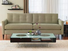 The Frampton Sofa Collection offers mid-century styling at its finest–brought up to date with plush ergonomic seating comfort. Contemporary Living Room Furniture, Contemporary Sofa, Tufted Sofa, Chaise Sofa, Modern Sofa Designs, Mid Century Living Room, Fabric Sofa, Home And Living, Modern Living