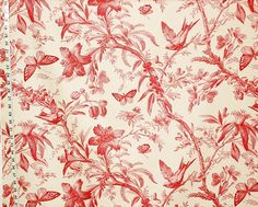 Red toile fabric bird butterfly passion flowers from Brick House Fabric: Novelty Fabric