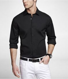 Express Mens Extra Slim 1Mx Spread Collar Shirt Black, Large