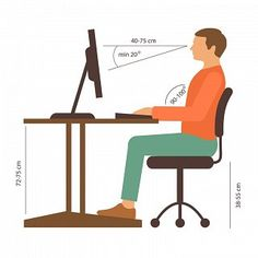 21 Simple Health Hacks You Can Use Every Day - Pay attention to your posture, especially if you work most of the day from a desk. Sitting Posture, Desk Height, Chair Pictures, Sitting Positions, Ergonomic Chair, Good Posture, Room Setup, Person Sitting, Back Pain