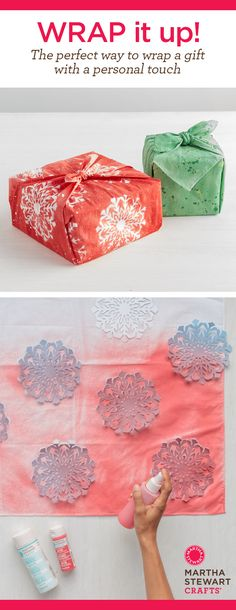 DIY Gift Wrapping Idea with Painted Fabric brought to you by Martha Stewart Crafts Made about DiY December