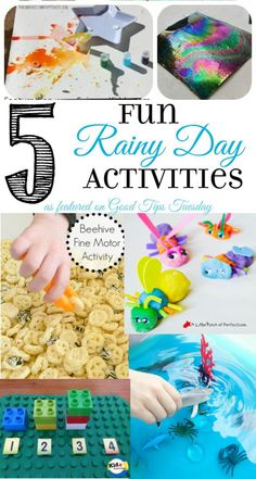 5 fun rainy day activities to keep the kids occupied, as featured on Good Tips Tuesday link up party. www.GoldenReflectionsBlog.com