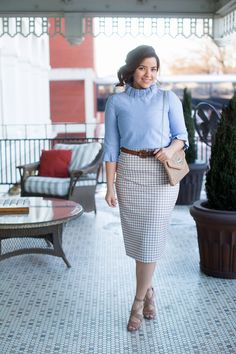 Modest chambray blouse with modest beige check gingham pencil skirt. Modest apparel, bridesmaid dresses, ruffles, and lace. www.daintyjewells.com