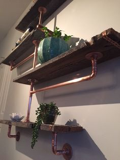 Copper pipe and reclaimed barn boards... brilliant!