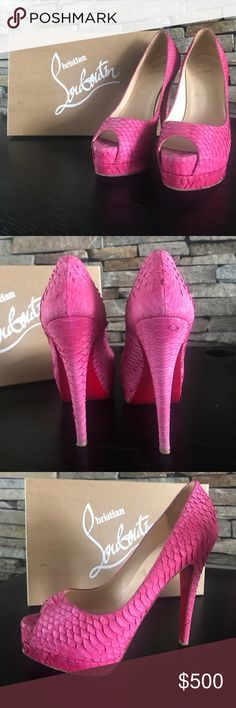 Pink Python Christian Louboutin Pumps Super hot heels great for going out or a nice luncheon with the girls. Check out my closet I even have the matching clutch and I am will to trade or bundle. True to size I am a size 6 so in CL I am a 36.5 Christian Louboutin Shoes Heels