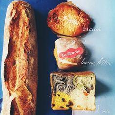 クリームパンにレモンあんバター、そして黒ごま・抹茶・カボチャ・人参を一度に食べられるパッチワーク食パンという珍しい一品も。