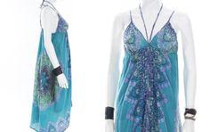 Vintage Handkerchief Dress Turquoise Aqua by FiregypsyVintage