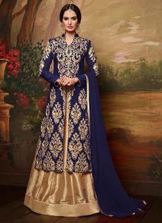 For wedding. Blue Long Choli A Line Lehenga