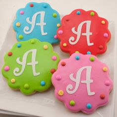 Birthday Cookie Favors Monogrammed or Numbered  12 by TSCookies, $33.00