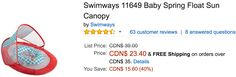 Amazon Canada Christmas Deals Of The Day: Save 40% off Swimways Baby Spring Float Sun Canopy 30% on Step2 Delux... http://www.lavahotdeals.com/ca/cheap/amazon-canada-christmas-deals-day-save-40-swimways/156799?utm_source=pinterest&utm_medium=rss&utm_campaign=at_lavahotdeals