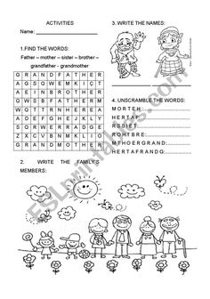 family members - ESL worksheet by nandinhapom Worksheets For Class 1, Family Worksheet, Vocabulary Worksheets, English Activities, Book Activities, Unscramble Words, Russian Language Learning, Flashcards For Kids, English Classroom