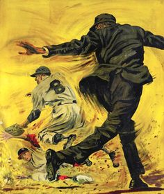Pulp art from baseball magazine by F.G. Hoyt (c.1930-40s).