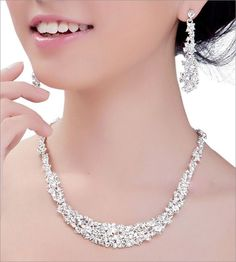 Bridal Wedding Silver Plated Rhinestone Crystal Necklace Earring Set Jewelry set