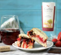 Berry Chocolate Panini Sandwich with Wine Reduction Sauce - A grilled cheese sandwich made with fresh berries that is topped with sweet chocolate, slightly salty brie cheese and drizzled with homemade wine reduction sauce with hints of berries and vanilla.