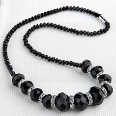 Apt. 9 - Black Faceted Crystal Glass Beads Bib Necklace - Kohl's - Original Price 28 Dollars - Clearance Price 4 & Matching Earrings - Original Price 24 Dollars - Clearance Price 3