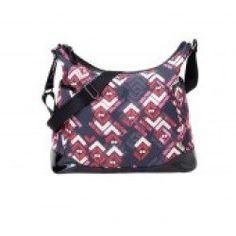 Oi Oi Hobo Diaper Bag with Patent Trim (Rose Chevron/Rose Nylon Lining)