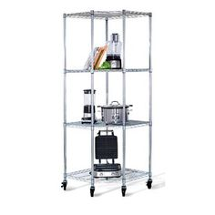 This Heavy Duty Corner Storage Rack Shelving Unit with Casters is perfect to maximize any corner space. It can hold any of your boxes, cookware, tools, and everything in between.