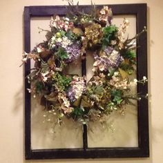 Old window and wreath
