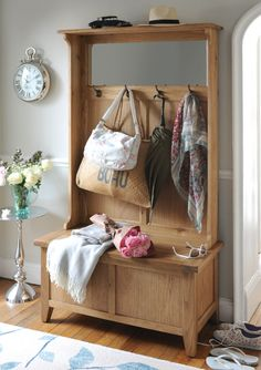 A touch of country living with the Montague Hall Unit from The Cotswold Company. Shoe Storage Console, Hallway Storage, Bench With Shoe Storage, Storage Hooks, Hallway Unit, Ikea Drawers, Ikea Wardrobe, Hall Bench, Garage Exterior