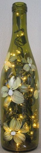 Hand Painted Lighted Wine Bottles by WineALotGlassware on Etsy, $19.95