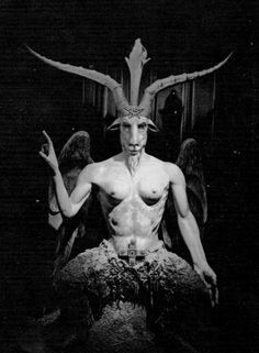 "Baphomet. The King of Demons, known as the ""Sabbatic Goat."" He is identified with Satanachia, an senior demon general described in the Grand Grimoire. His name is believed to be a corruption of Muhammad, the founder of Islam. He is usually depicted with the head of a goat, with a pentagram carved between his horns, and the body of a human woman or hermaphrodite. He has the power to control all human women, and is said to give witches their power."