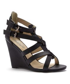 Look at this Black Jessica Wedge Sandal on #zulily today!