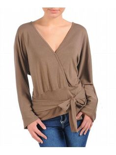 ddbfe9d58f Plus Size Brown Tie Long Sleeve Top