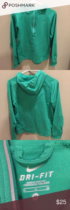 Green Quarter Zip Nike Dri-Fit Jacket Green Quarter Zip Nike Dri-Fit Jacket. It is a warm jacket that soft on the inside. There are thumb holes in the jacket. There are small areas where the seam is piling as shown in the last photo. Nike Jackets & Coats
