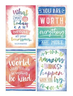 Inspire and motivate students with soft, watercolor-themed posters featuring positive sayings! Classroom Quotes, Classroom Themes, Classroom Organization, Classroom Signs, School Bathroom, Inspirational Quotes For Kids, Inspirational Classroom Posters, School Posters, Motivational Posters For School