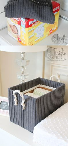 Caja de almacenamiento con viejo jersey - thriftyandchic.com - DIY Storage Box from Old Cardboard Box and Sweater
