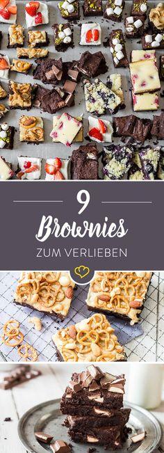 Schokolade in einem Wort: Brownies! Schokolade in zwei Worten: Erdnussbutter-Brownies. Schokolade in drei Worten: Himbeer-Cheesecake-Brownies. Schokolade in … acht Worten: Die besten Brownies, die du je gegessen hast. Brownies sind nämlich nicht einfach nur flüssige Schokolade – nein. Brownies sind Schokolade, Karamell, Marshmallows, Brezeln, Blaubeeren, Erdbeeren, Frischkäse, Pistazien, Mandeln, … – ziemlich geniale Süßigkeiten eben. 1 Grundrezept, 9 Varianten – für jeden Tag eine.