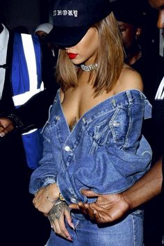 Rihanna in an off shoulder denim jacket, crystal choker & baseball cap #sostylish...x