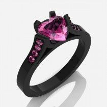 Wonderful Copper Black Gold-plated Heart CZ Inlaid Women's Engagement Ring