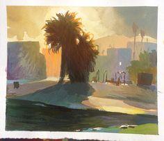 This morning's LA sunrise. Sketch Painting, Gouache Painting, Watercolor Paintings, Watercolours, Landscape Art, Landscape Paintings, Sketchbook Inspiration, Visual Development, Beautiful Paintings