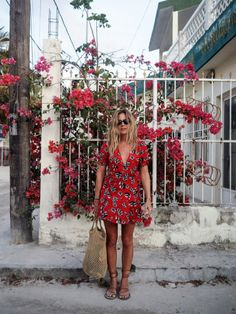 Red summer flower dress