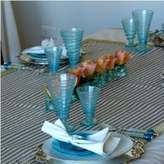 My table setting with typical  blue Lebanese glass ware