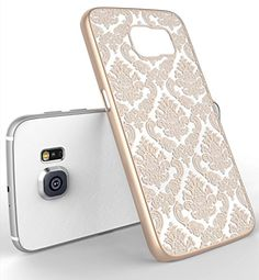 Galaxy S6 Case, LA GO GO(TM) Beauty Damask Lace Vintage Design Rubberized Ultra Slim Coating Print Hard Hybrid Case Cover Fit for Samsung Galaxy S6 G9200 (Gold, Galaxy S6)