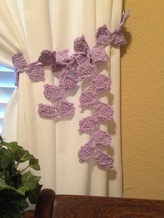 Crochet Leaf Curtain Tieback 1 Pair Lavender Von JinesCrafts