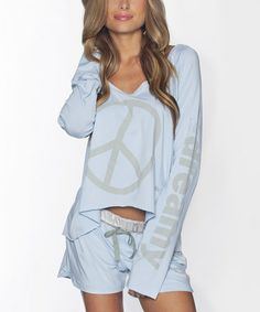 Look at this Sky 'I Am Peace' Dreamy Long-Sleeve Top by Peace Love World Peace Love World, Long Sleeve Tops, That Look, Cute Outfits, Rompers, Sky, Stylish, My Style, Womens Fashion