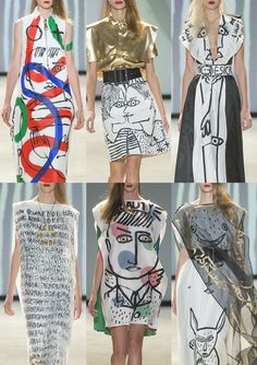 Paris Fashion Week Spring/Summer 2014 Print Highlights | Jean-Charles de Castelbajac S/S 2014 | Illustrative Portraits – Quirky Drawing Style – Doodles and Writings – Bold Paint Marks – Brancusi Colour Palette – Gold Touches – Over-scaled Imagery