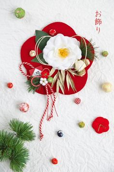 Japanese New Year, Miscellaneous Goods, New Years Decorations, Mother And Child, Ikebana, Paper Flowers, Floral Arrangements, Bouquet, Christmas Ornaments