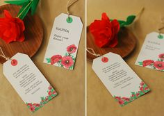 FREEBIES: PRINTABLE INVITATION & PLACE CARD TAGS- Hand out the invitation tag tied to a (paper) flower and invite your friends to a cosy dinner party at your place. You can tie the name tag to the napkins or cutlery on your guests' place settings. These printables come in two color versions: bold red & green and cute coral & mint. Choose your favorite and put the tags together following the instructions below.- click on the download links and save as!