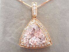 "14k Rose Gold 2.33 TCW Trillion Cut Morganite Diamond Pendant Necklace 18"" #2832 #Pendant"