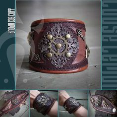 Great leather cog cuff.  If I could sew the leather, I could totally make this.
