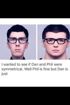 I think it's because dans head is not facing straight ahead, but at a slight angle