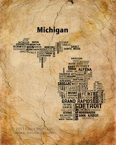 Cities of MICHIGAN State Michigan Map Cities & by fancyprints, $16.00