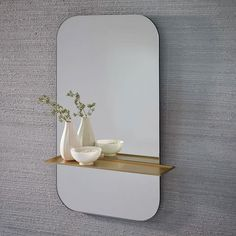 "Floating Shelf Wall Mirror - 24""w x 5""d x 30""h."